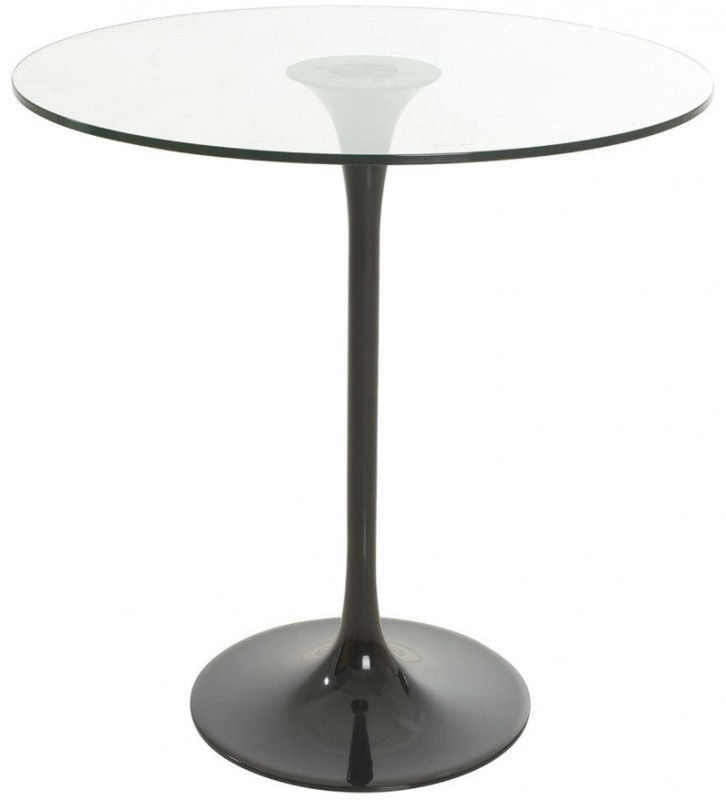 Table Ronde Tulipe Verre Trempe Transparent Et Metal Noir Fang 90