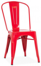 Chaise industrielle acier brillant rouge Kaoko