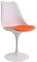 Chaise tulipe fixe polypropylène blanc et simili cuir orange Tani