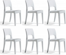 Lot de 6 chaises design polycarbonate blanc Vima