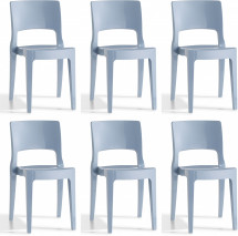 Lot de 6 chaises design polycarbonate bleu Vima