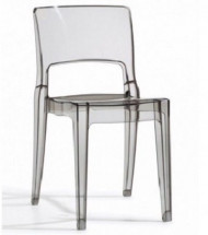 Lot de 4 chaises design polycarbonate gris transparent Vima