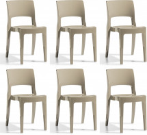 Lot de 6 chaises design polycarbonate taupe Vima