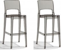 Lot de 2 chaises hautes design polycarbonate gris transparent Vima