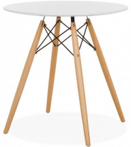 Table ronde bois blanc Wako 70