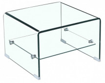 Table basse carrée verre trempé transparent Yuko