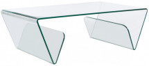 Table basse rectangulaire verre trempé transparent Mulko