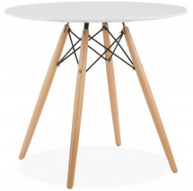 Table ronde bois blanc Wako 80