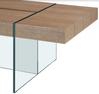 Table Basse Design Bois Clair Et Verre Trempe Transparent Akira