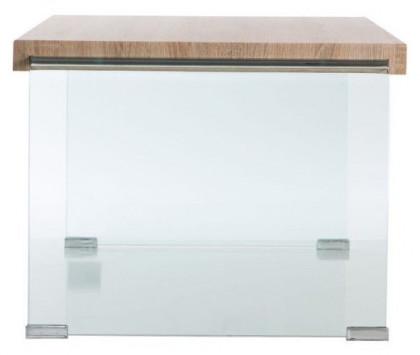Table Basse Moderne Bois Clair Et Verre Trempé Transparent Nara