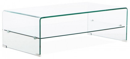 trempé Chan verre transparent Table basse PwOXZTuki