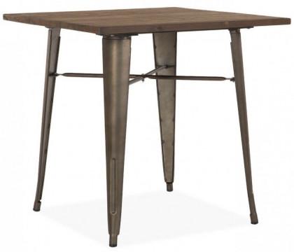 Table Carree Bois Metal.Table Carree Bois Massif Fonce Et Metal Kaori