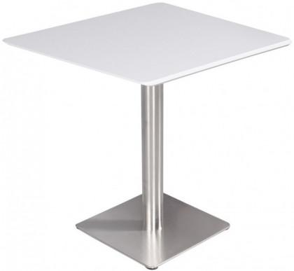 Table Haute Carree Bois Blanc Et Acier Chrome Shin