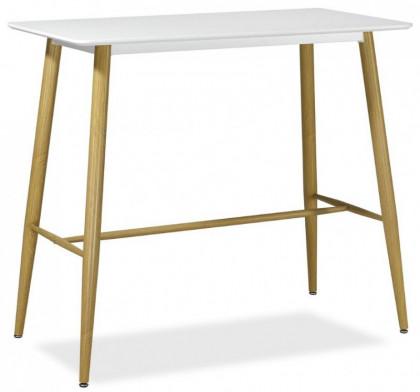 Table Haute Rectangulaire Metal Et Bois Blanc Hana 98