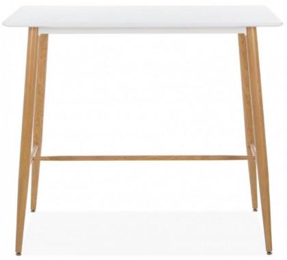 Table Haute Rectangulaire Metal Et Bois Blanc Hana 106