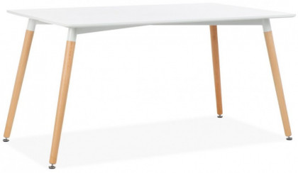 Table Rectangulaire Bois Blanc Mat Hana 140
